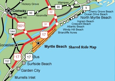 Shared Ride To OR From MYR Myrtle Beach Airport Shuttle MYRC