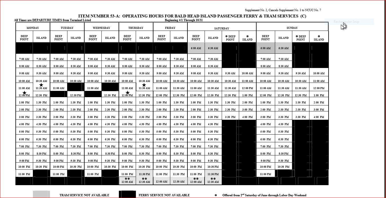 Bald Head Island Ferry Schedule